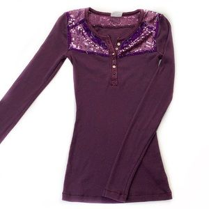 Free People • Sequin Placket Thermal Henley Tee